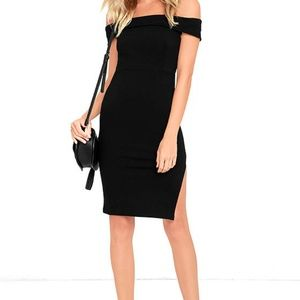 Lulus Foxy Lady Off the Shoulder Bodycon Dress M